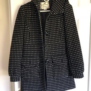 Black Guess coat with white polka dots and hood!
